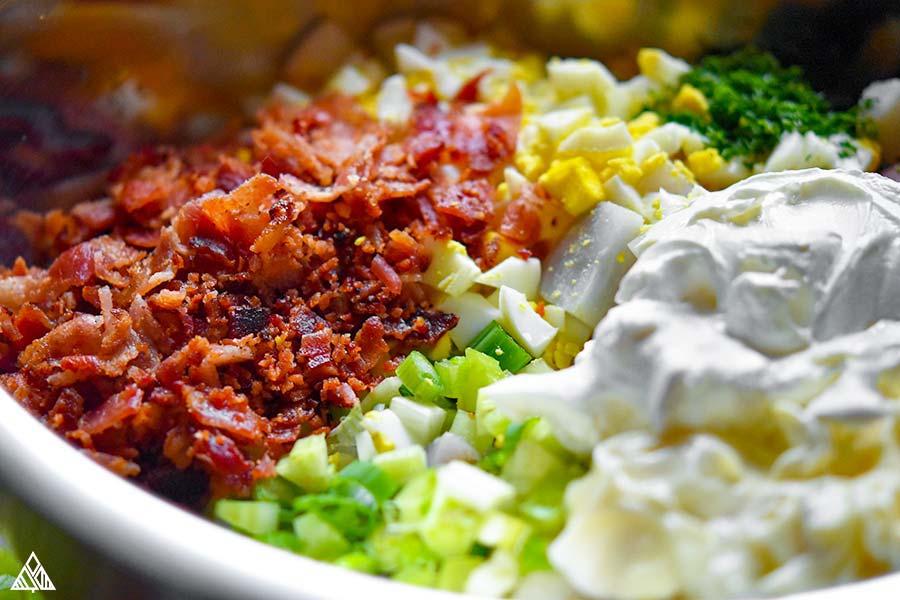Ingredients for paleo potato salad