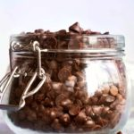 Sugar free chocolate chips in a small jar
