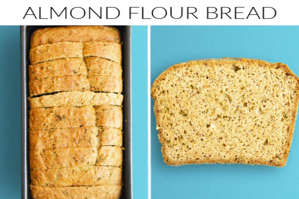 Collage images of almond flour bread