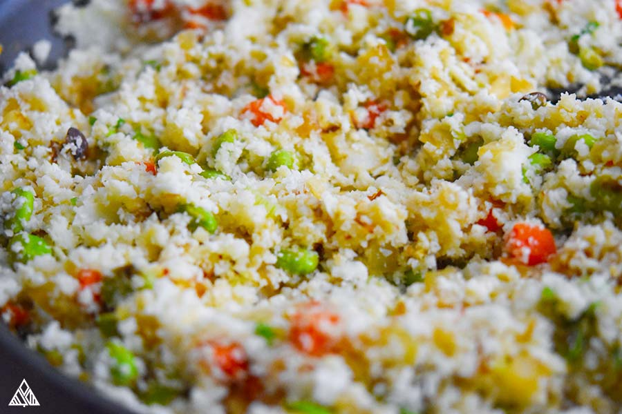 Closer of cauliflower fried rice