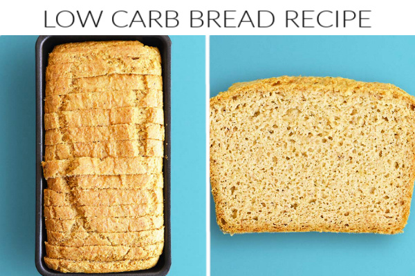 Collage images of low carb bread recipe