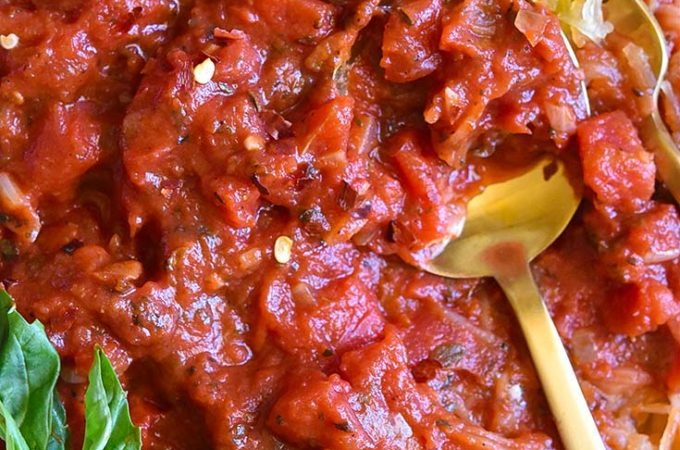 Closer look of low carb spaghetti sauce