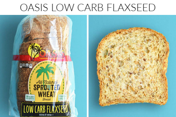 Collage images of oasis low carb bread