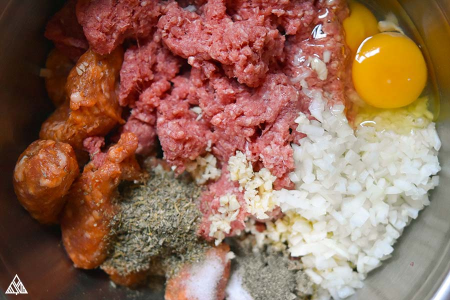Ingredients for paleo meatballs combined all together