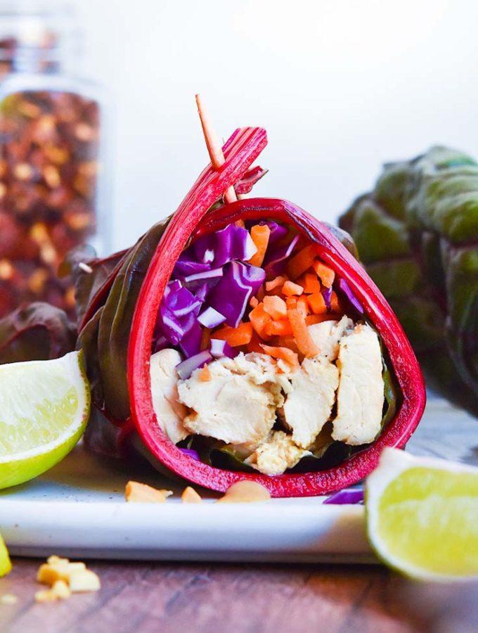 "Thai Chicken Low Carb Paleo Wraps with ""Peanut"" Sauce!"
