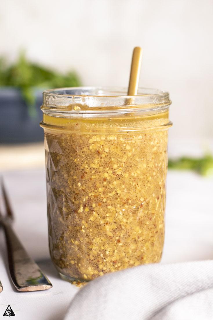 jar full of mustard vinaigrette