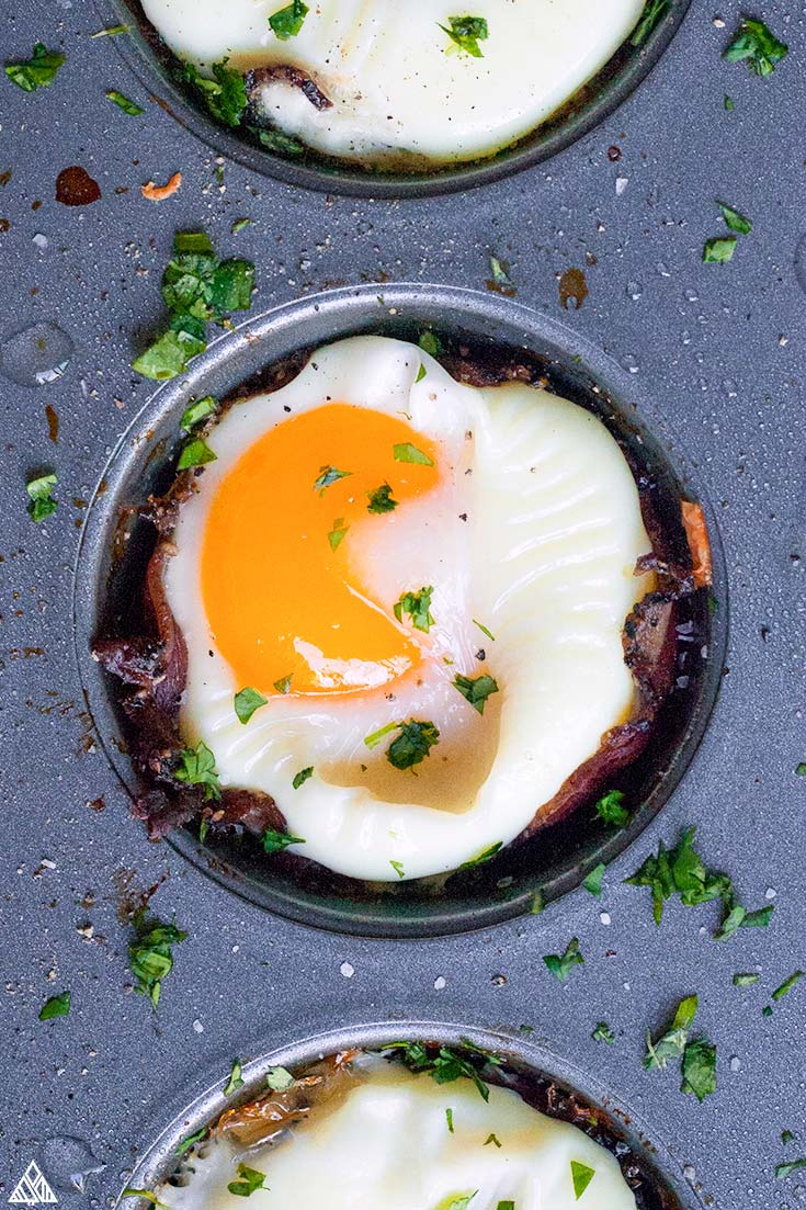 Cooked egg in a muffin tin