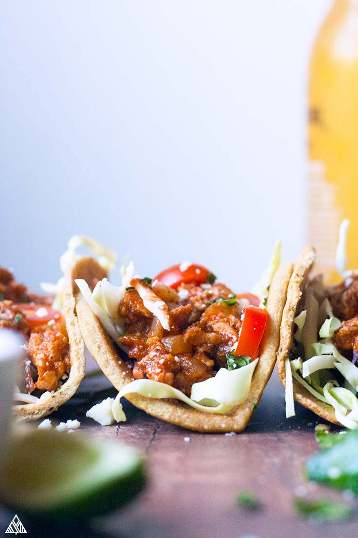 Side view of ground chicken tacos