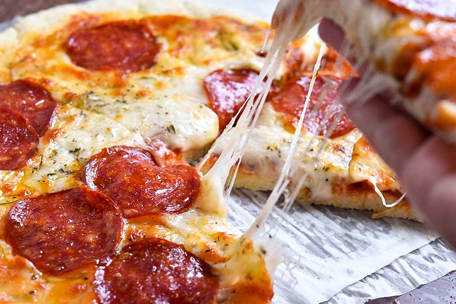 Closer look of coconut flour pizza crust
