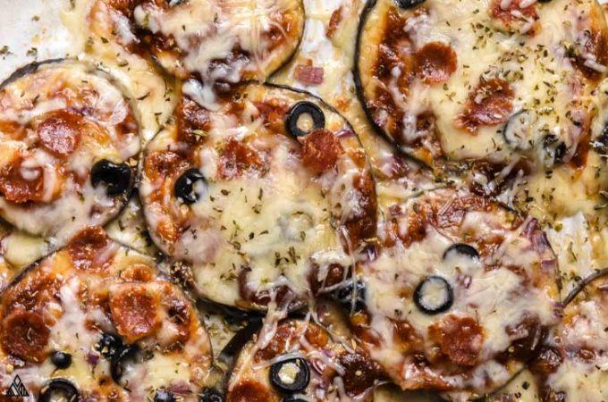 Closer look of eggplant pizza