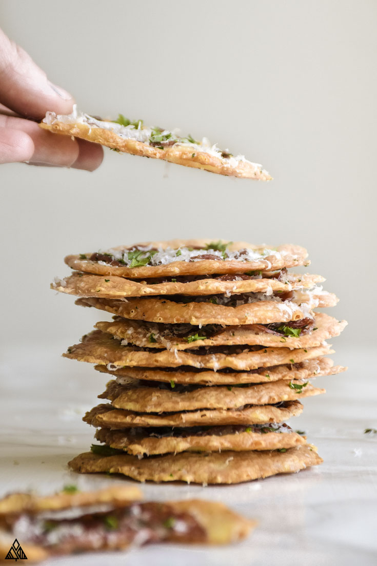 Stack of no crust pizza