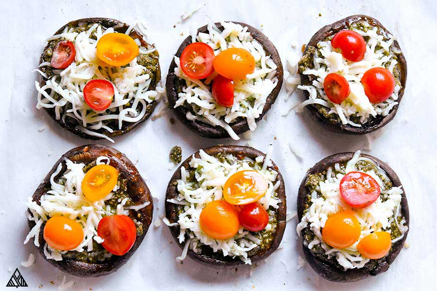 Portobello topped with cheese and