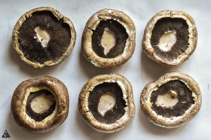 Top view of portobello mushrooms