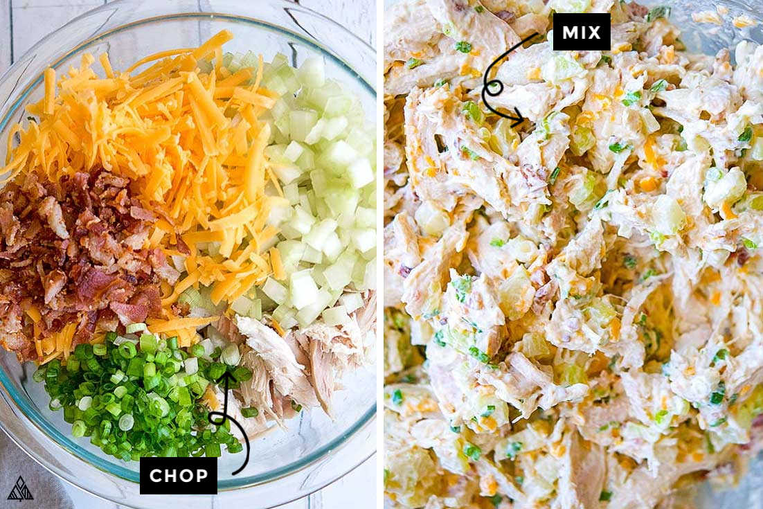 Collage of how to prepare rotisserie chicken salad