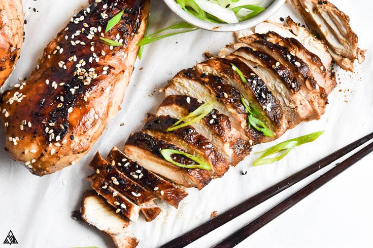 Slices of asian chicken marinade