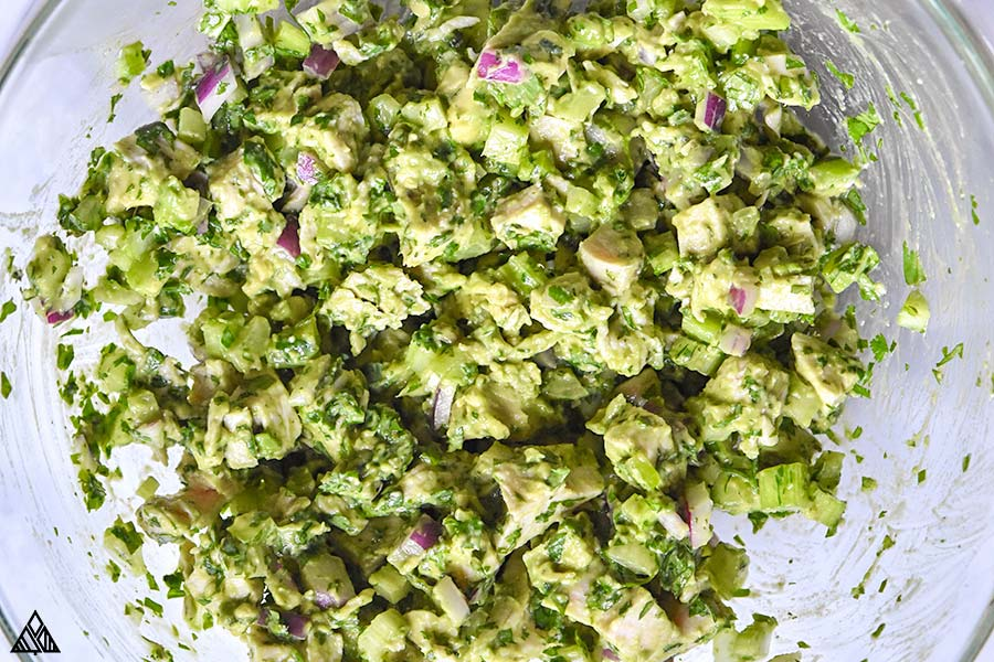 Top view of avocado chicken salad in a bowl