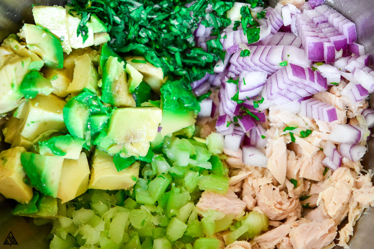 All ingredients for avocado tuna salad
