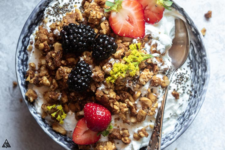 Closer look of grain free granola in bowl with spoon