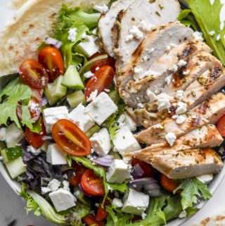 Closer look of greek chicken salad