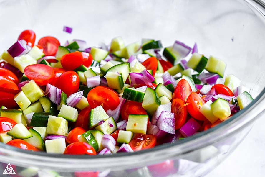 Veggies for greek chicken salad