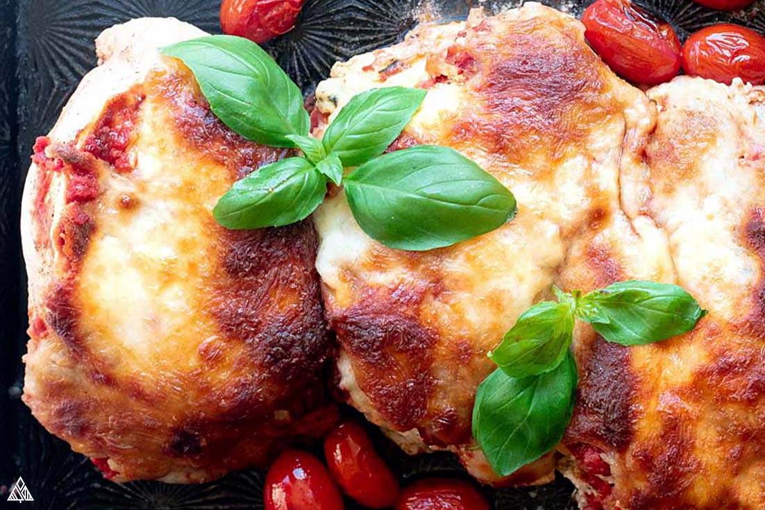 Closer look of lasagna stuffed chicken
