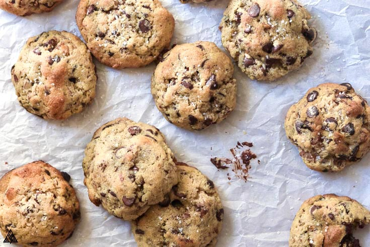Top view of low carb chocolate chip cookies