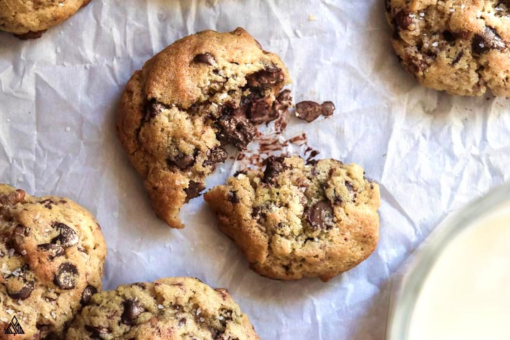 Closer look of low carb chocolate chip cookies in a parchment paper