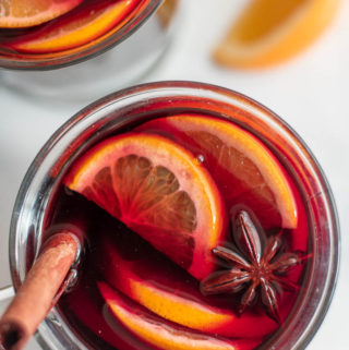 Top view of low carb mulled wine with slices of lemon