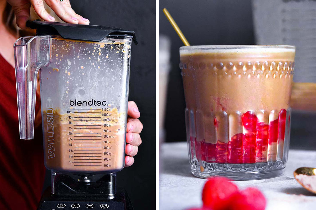 Collage of a low carb protein shake in a blender and a glass of low carb protein shake