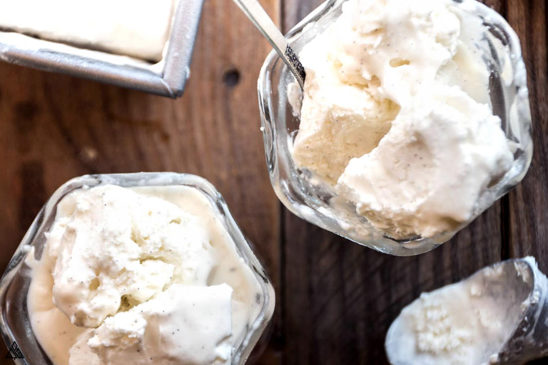 Top view of low carb vanilla ice cream