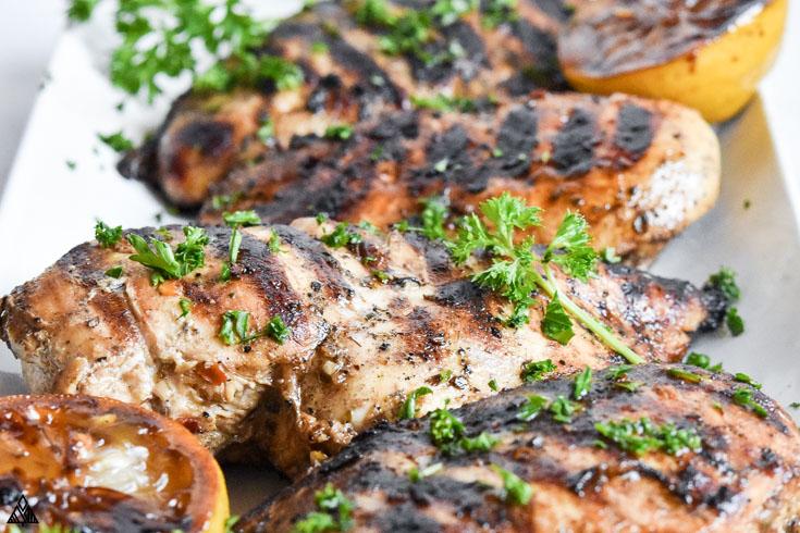 Side view of mediterranean chicken marinade