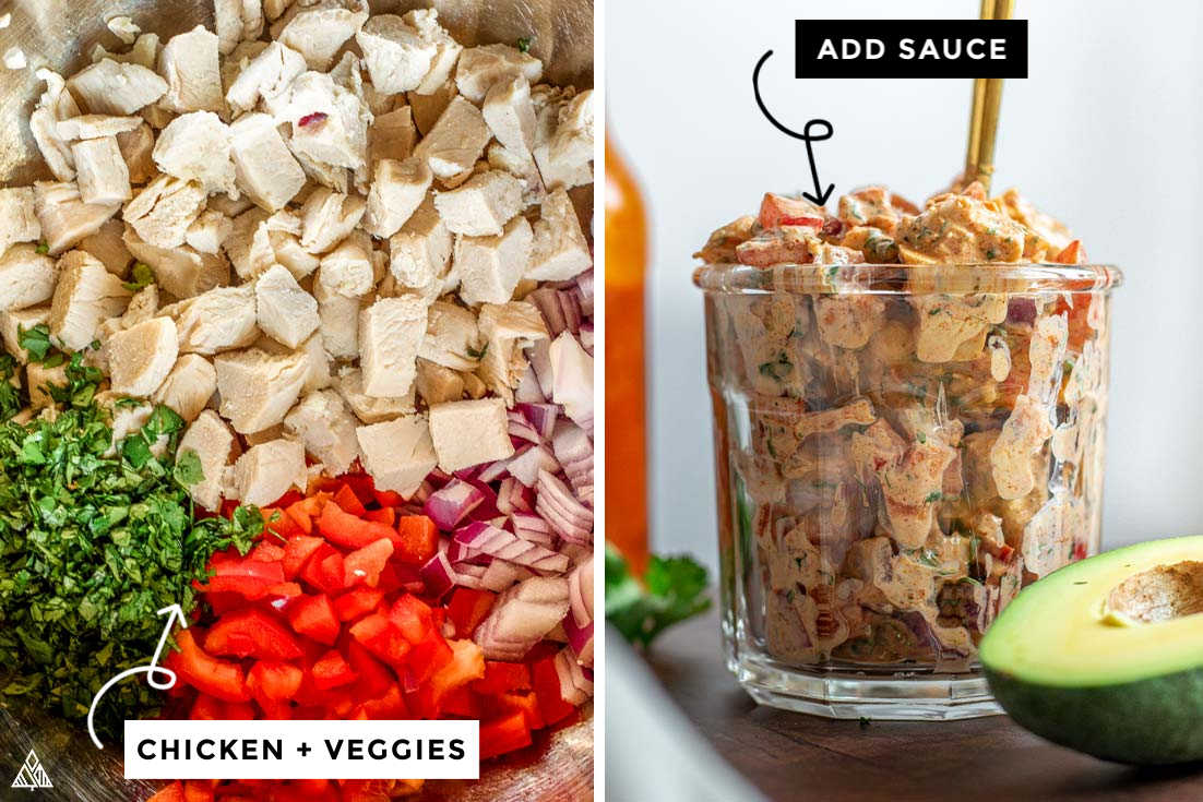 A collage of ingredients of how to make mexican chicken salad