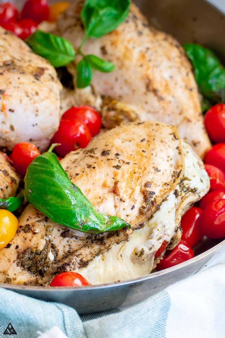Top view of mozzarella stuffed chicken