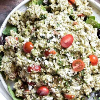 Top view of pesto chicken salad in a bowl