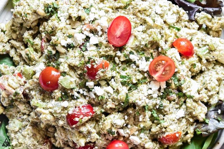 Closer look pesto chicken salad