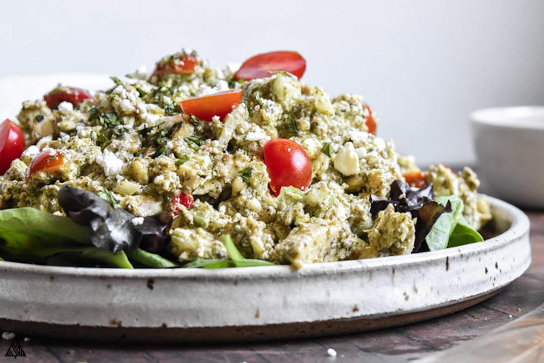 One of the best low carb chicken salad recipes is pesto chicken salad