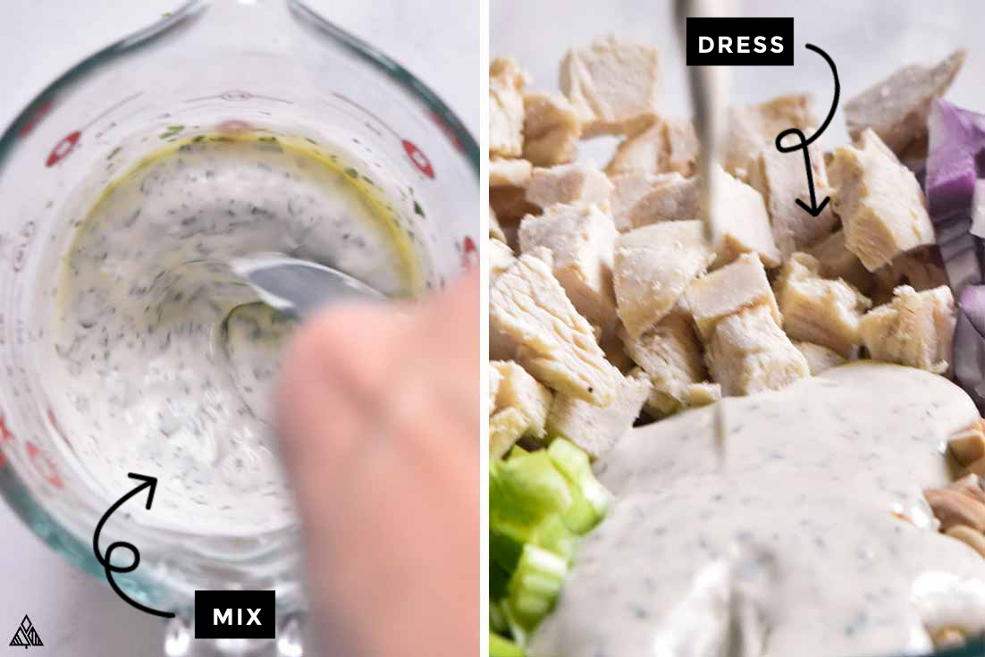 how to make tarragon chicken salad by mixing and adding some dressings