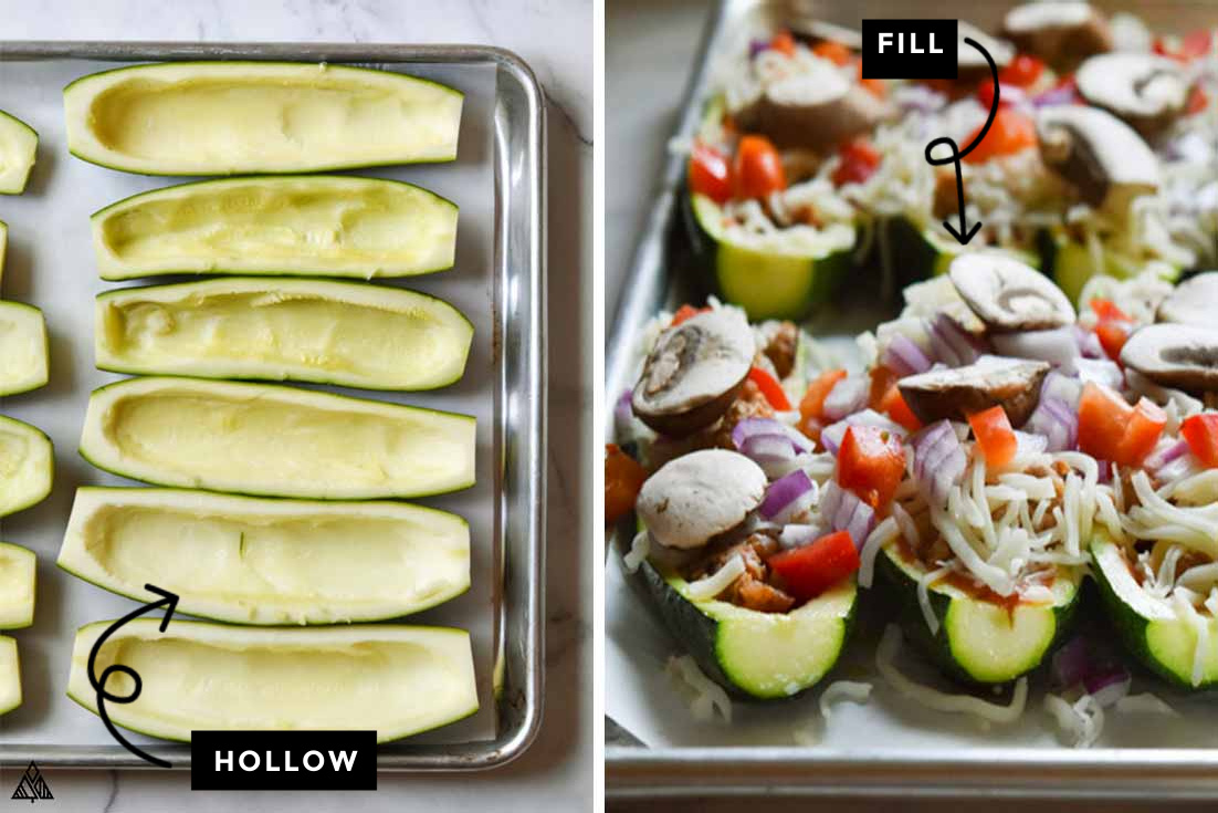 how to make zucchini pizza, by hallowing out zucchini and adding fillings
