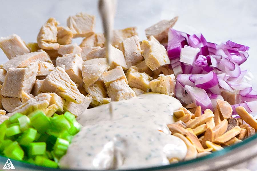 All the ingredients for tarragon chicken salad