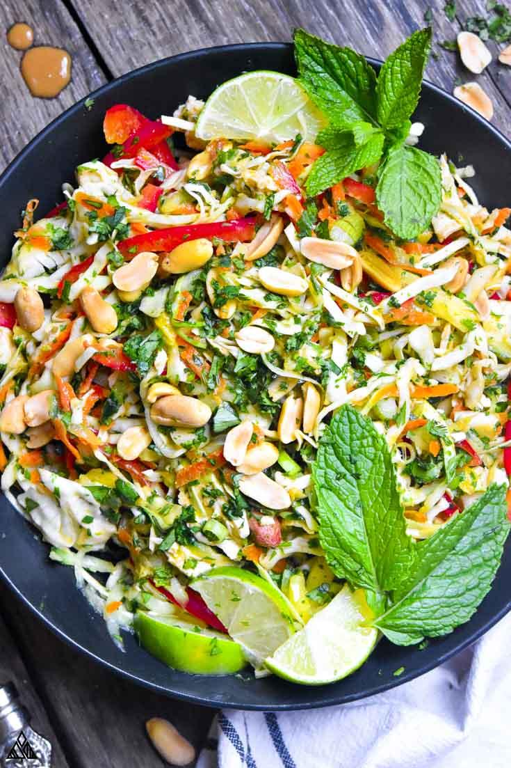 Top view of thai chicken salad