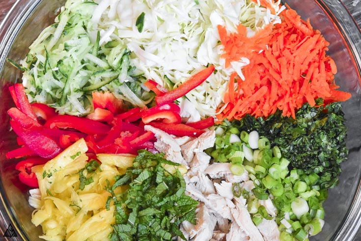 Top view of all the ingredients for thai chicken salad