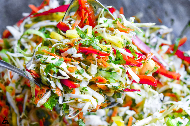 Combined ingredients for thai chicken salad