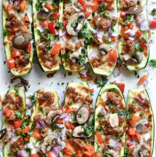 Top view of zucchini pizzas