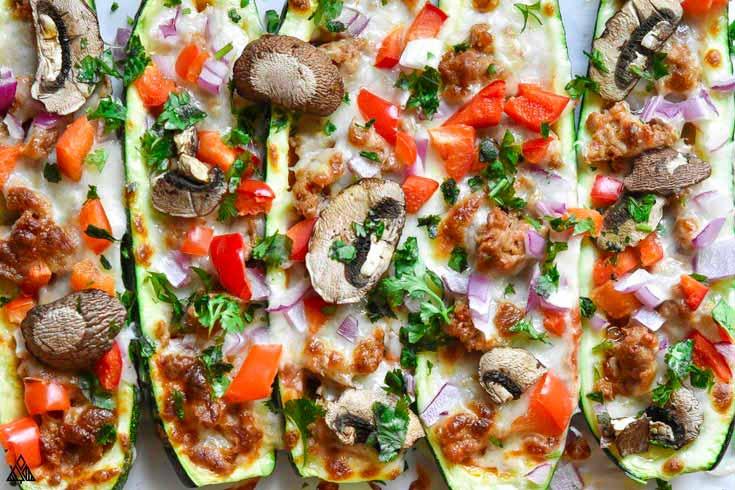 plate full of keto zucchini pizza