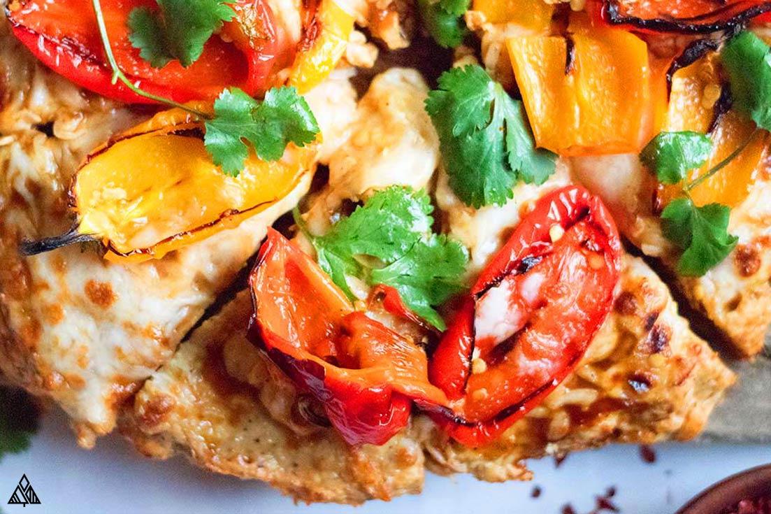 Closer look of chicken crust pizza