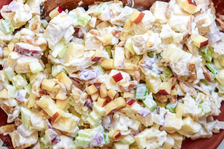 Top view of chicken salad with apples