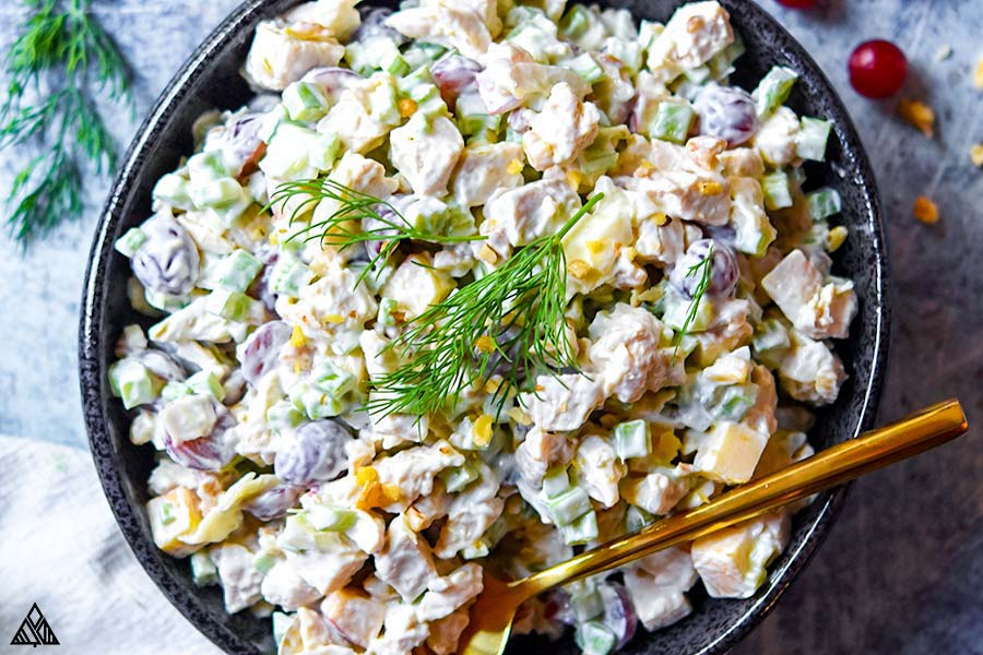 Top view of chicken salad with grapes