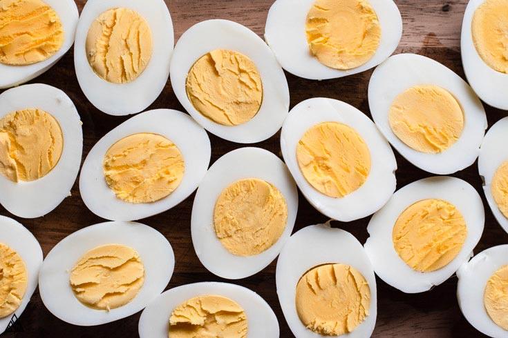 Hard boiled eggs sliced into halves