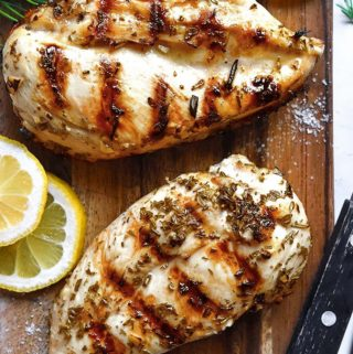 Top view of 2 lemon chicken marinade