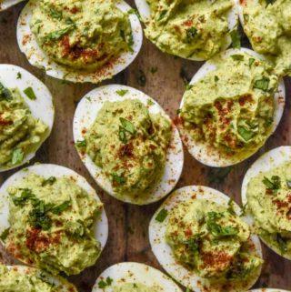 Top view of avocado deviled eggs